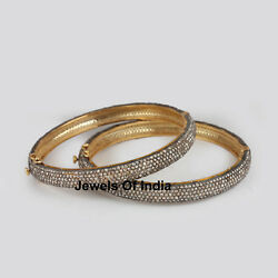 Natural Rose Cut Diamond And 925 Sterling Silver 2 Pieces Victorian Bangle Jewelry