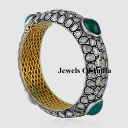 Natural Diamond Polki And Emerald And 925 Sterling Silver Victorian Bangle Jewelry