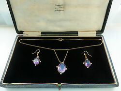 Stunning Antique Pendant And Earring Set Amethyst Pearl 9ct Gold Pearl Anniversary