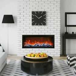 50 Extra Tall Clean Face Symmetry Electric Fireplace W/birch Logs