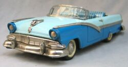 Vintage Large Tin Friction Toy Convertible -- 1956 Ford Sunliner - Haji -