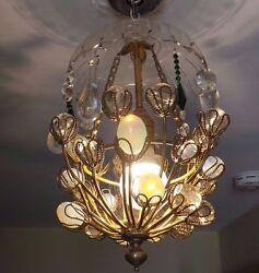 Vintage Italian Prisms Chandelier With Brass Detail Canopy