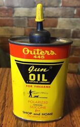 Vintage Outers 445 Gun Oil Can Tin Outers Laboratories Inc Onalaska, Wisconsin