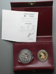 1987 Belgium 50 And 5 Ecu 1/2 Oz Gold + Silver Proof Coin Set +ogp Treaty Of Rome
