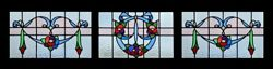 Antique Victorian Stained Glass Windows Set Of 3 Floral