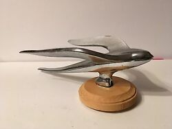 1950and039s Simca Hirondelle Hood Ornament Winged Bird Flight Chrome