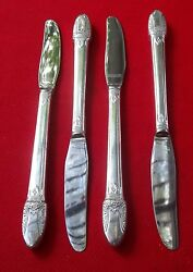 Exce First Love Pattern 4 Modern Grill Knives 1847 Rogers Silver Plate 8 1/2 Lg