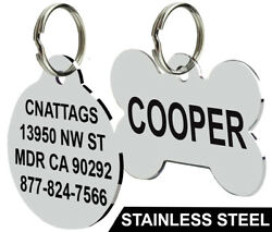Stainless Steel Pet ID Tags Dog Tags Personalized Front and Back Engraving $4.95
