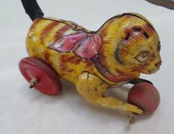 Vintage Tin Cat By Mar Toys Wind Up Toy 1940's