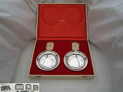 Rare Cased Pair Qe Ii Hm Sterling Silver And Gilt Bowls
