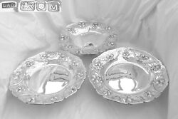 RARE SET OF 3 GEORGE III HM STERLING SILVER EMBOSSED PEDESTAL COMPORTS