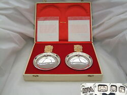 Rare Cased Pair Qe Ii Hm Sterling Silver And Gilt Bowls A
