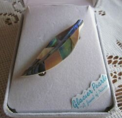 New in Box Storrs Glacier Pearle Abalone Shell Leaf Pin Brooch