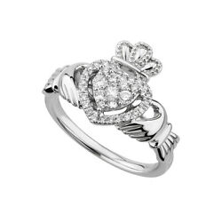 Solvar 14k White Gold .34ct Diamond Claddagh Ring s21097 All Sizes Available
