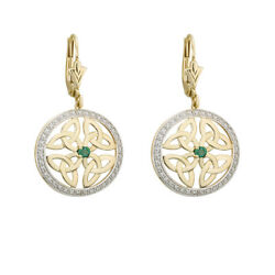 Solvar 14K Yellow Gold Genuine Emerald Trinity Drop Earrings s33951