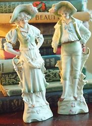 Victorian Style Courting Couple Porcelain Bisque Figurines Occupied Japan 6.5h