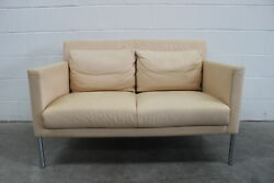 Rare Immaculate Walter Knoll Jason 391 2-seat Compact Sofa In Cream Leather