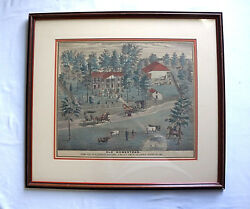 Currier And Ives Old Homestead Boone Co. Mo Framed Matted Rare Old Print