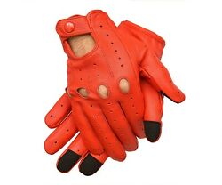 Men's Genuine Leather Driving Riding Gloves Texting Gloves