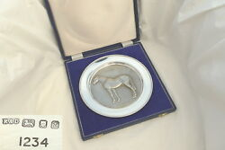 Rare Cased Qe Ii Sterling Silver Dahlia Horse Racing Plate 1974