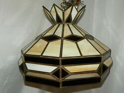 3d Style Slag Leaded Glass Shade Hanging Lamp With Chain- Amber/frosted