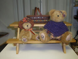 Longaberger Collectors Club Picnic Table Mini Basket And 2 Boyds Bears New