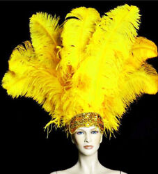 Pretty 100pcs 15-80cm/6-32 Inch Super Quality Natural Yellow Ostrich Feather