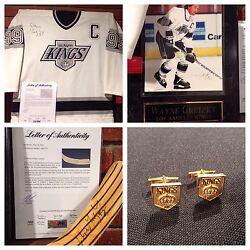 Wayne Gretzky Signed Game Jersey,hockey Stick,picture Plaque Andcufflink Psa Dna