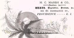 Lot Of 4 1870's H.c.marsh And Co Engraved Meats Tropical Victorian Trade Card P121