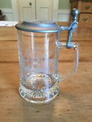 Lidded Beer Stein Glass Mug Salem Ship Grand Turk 1786 Cup Old Spice Collectible