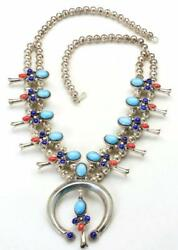 Vintage Sterling Silver Turquoise Coral And Lapis Squash Blossom Naja Necklace