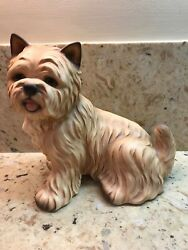 LARGE VINTAGE PORCELAIN TERRIER DOG FIGURE WEST HIGHLAND NORWICH HARVEY KNOX