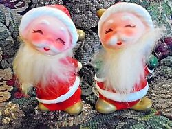Vintage Antique Santa Clause Christmas Salt And Pepper Shakers Numbered Rare