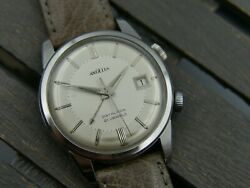 60and039s Vintage Watch Mens Angelus Datalarm Alarm Hand Wind As 1568 Rare Serviced