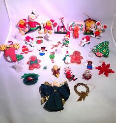 Vintage Christmas Tree Ornaments Decorations Holiday Lot 35+ Some Handmade