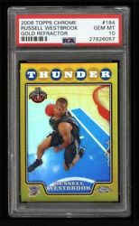 2008 Topps Chrome Gold Refractor /50 Russell Westbrook #184 PSA 10 ROOKIE RC