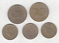 5 Malaysia Coins - 20 And 10 Sen - 1948 To 1968