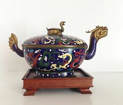 Rare 8 Turtle Dragon Old Vintage Ornate Chinese Cloisonne Lidded Box Stand