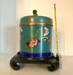 Fine Large Old Vintage Chinese Cloisonne Humidor Box Jar Blue Flowers Stand