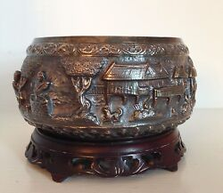 Fine Old Sterling Silver Repousse Bowl And Stand Village Scene Thailand Siam