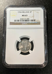 1934 Ms63 Ireland 3 Pence Unc Eire Km 4 Ngc Republic Registry Coin Only 3 Higher