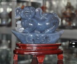 6chinese Feng Shui Natural Agate Carved Zodiac Animal Pig Yuanbao Wealth Statue
