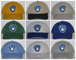 Milwaukee Brewers Polo Style Cap ⚾hat ⚾classic Mlb Patch/logo ⚾10 Hot Colors⚾new