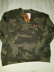Polo Country Ralph Lauren Camouflage Outdoorsman Cable Knit Blue Label Sweater
