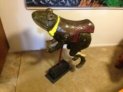 Rare Carved Wood Carousel Jumping Frog On Stand 31l