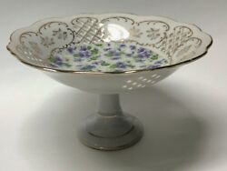 Lefton China Pedestal Bowl Compote Dish Hand Painted Violets 7-1/2 X 4-1/4 Inch