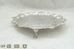 Rare George Iii Hm Sterling Silver 3 Footed Salver 1769