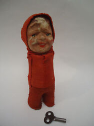 Antique Rare Red Riding Hood Papier Paper Mache Schuco Wind Up Doll Toy +key