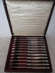 French Silver 800 Minerve And Mother Of Pearl Fruits Knives 12pcs Louis Xiv St