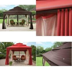 3-Tier Luxury Large 12'x10' Gazebo Netting & Privacy Panels Canopy Tent Mosquito